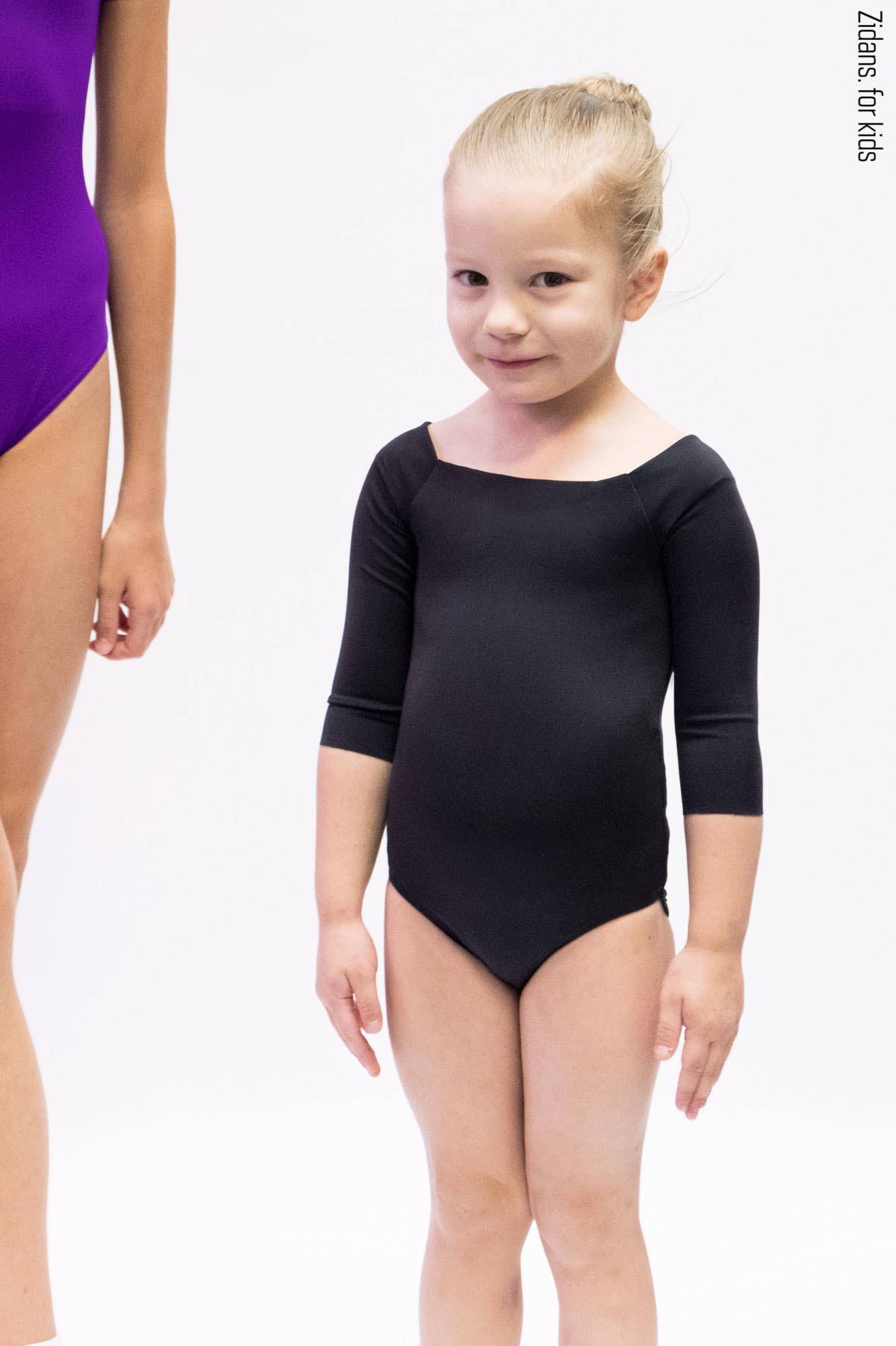 Детский купальник 2 Рукава   черный