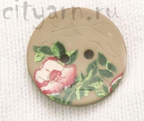 Пуговица с цветком шиповника, светло-коричневая, 28 мм