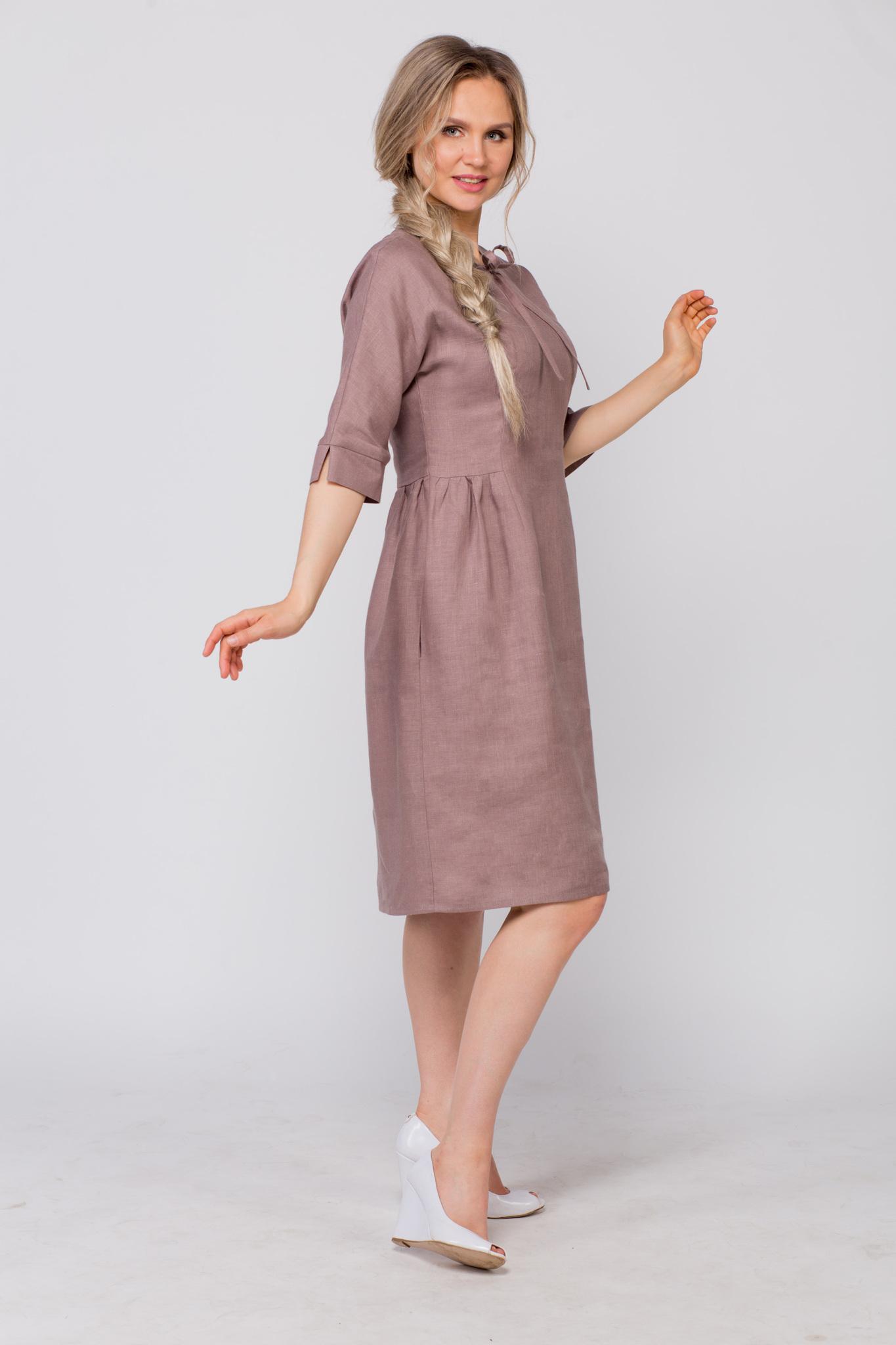 Платье льняное Какао вид сбоку