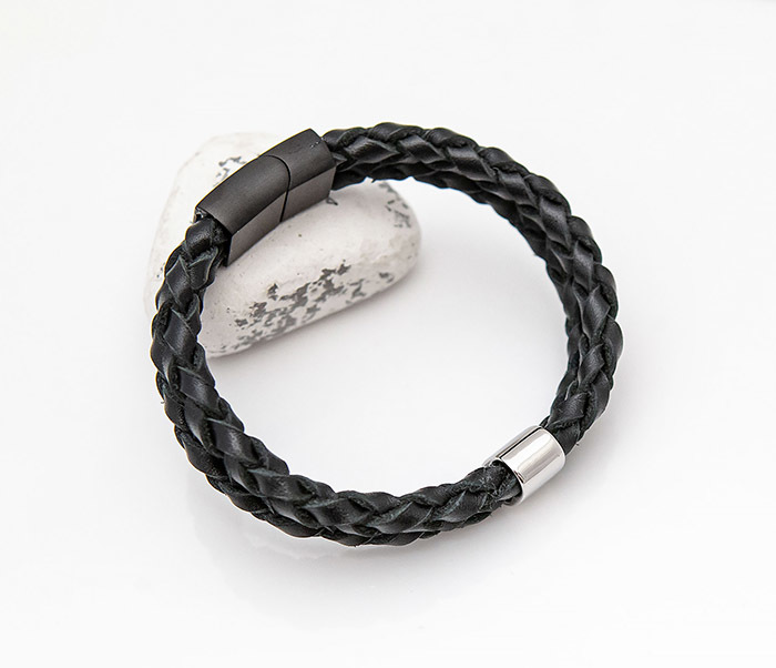BL810-1 Браслет из пары кожаных шнуров ручной работы фото 04