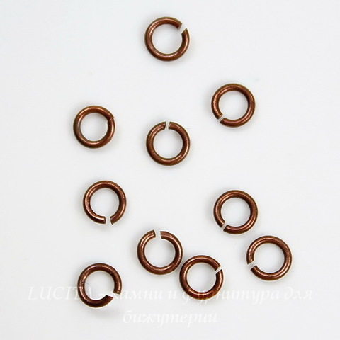 Винтажное колечко одинарное 3,5х0,6 мм (оксид меди), 10 шт