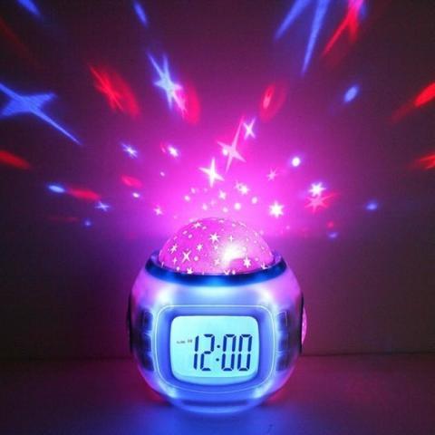 Часы ночник проектор звездного неба Music Starry Sky