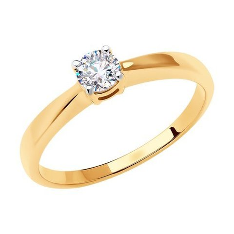 018635 - Помолвочное кольцо из золота с фианитом