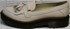 Осенние женские туфли на низком каблуке Markos S-6 Light Beige.