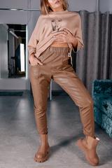 Кожаные штаны с карманами Nadya