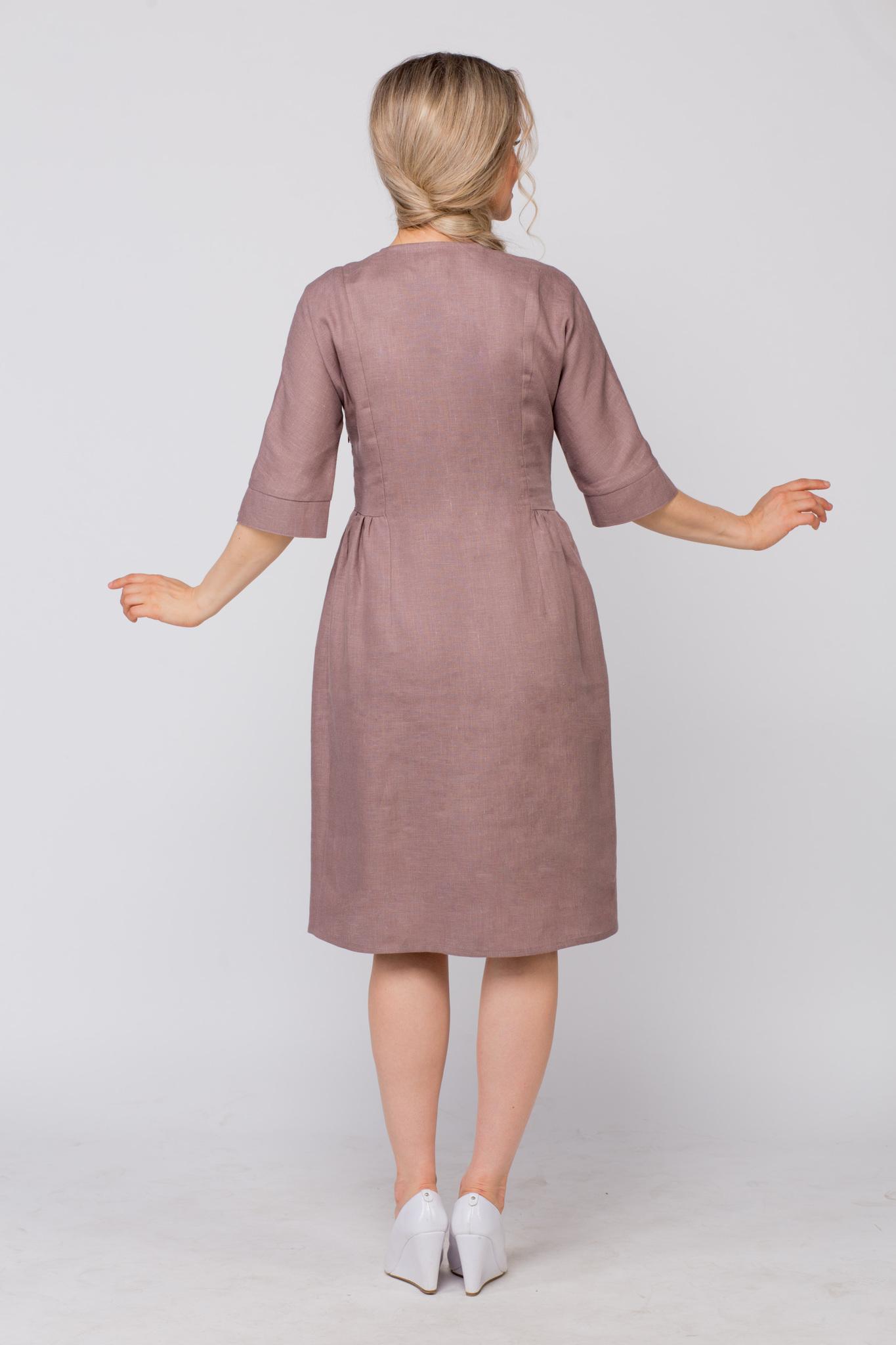 Платье льняное Какао вид сзади