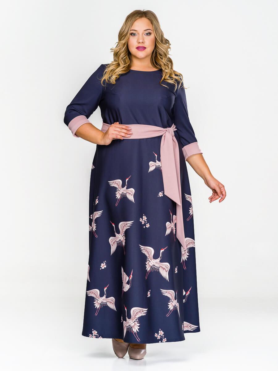 Длинное платье из крепа Журавли