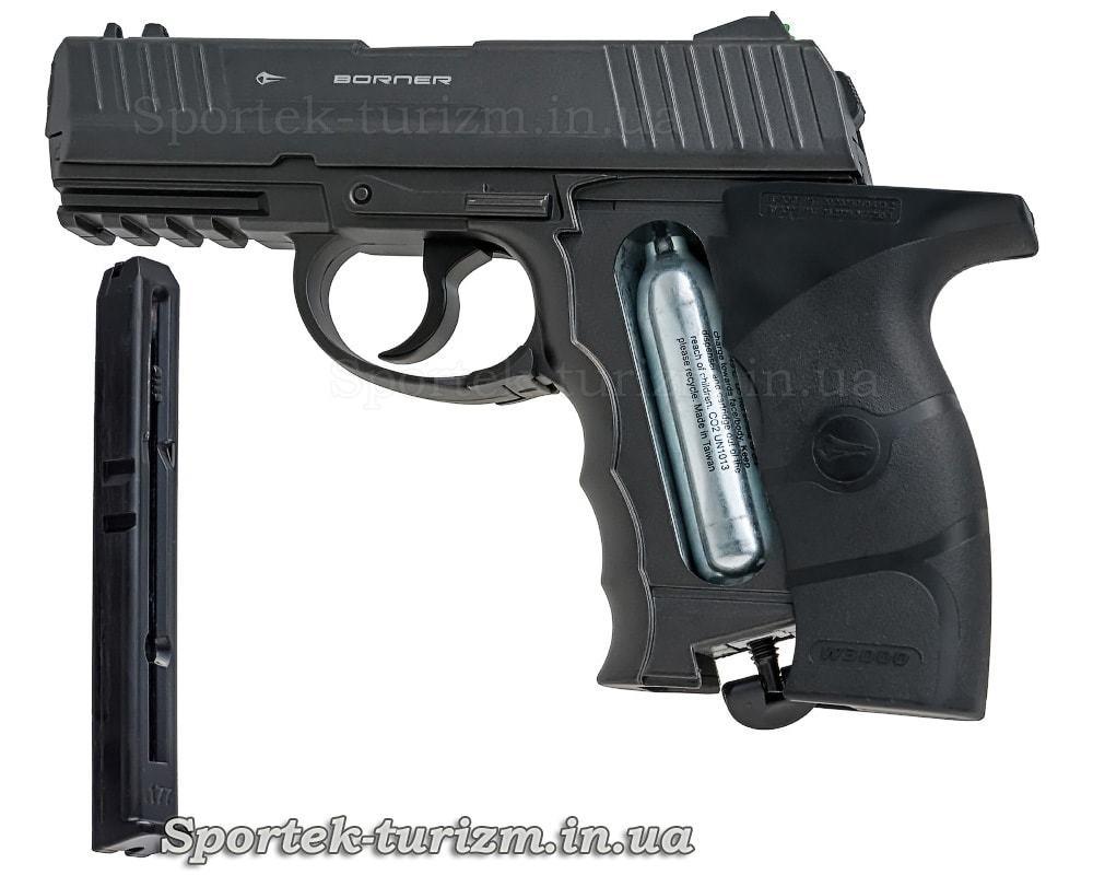 Магазин і балон з СО2 пневматичного пістолета Borner W3000M калібру 4,5 мм