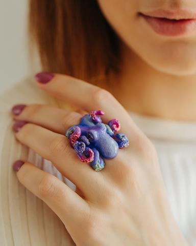 Кольцо Осьминог Сиреневый