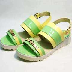 Кожаные босоножки сандалии на толстой подошве Crisma 784 Yellow Green.