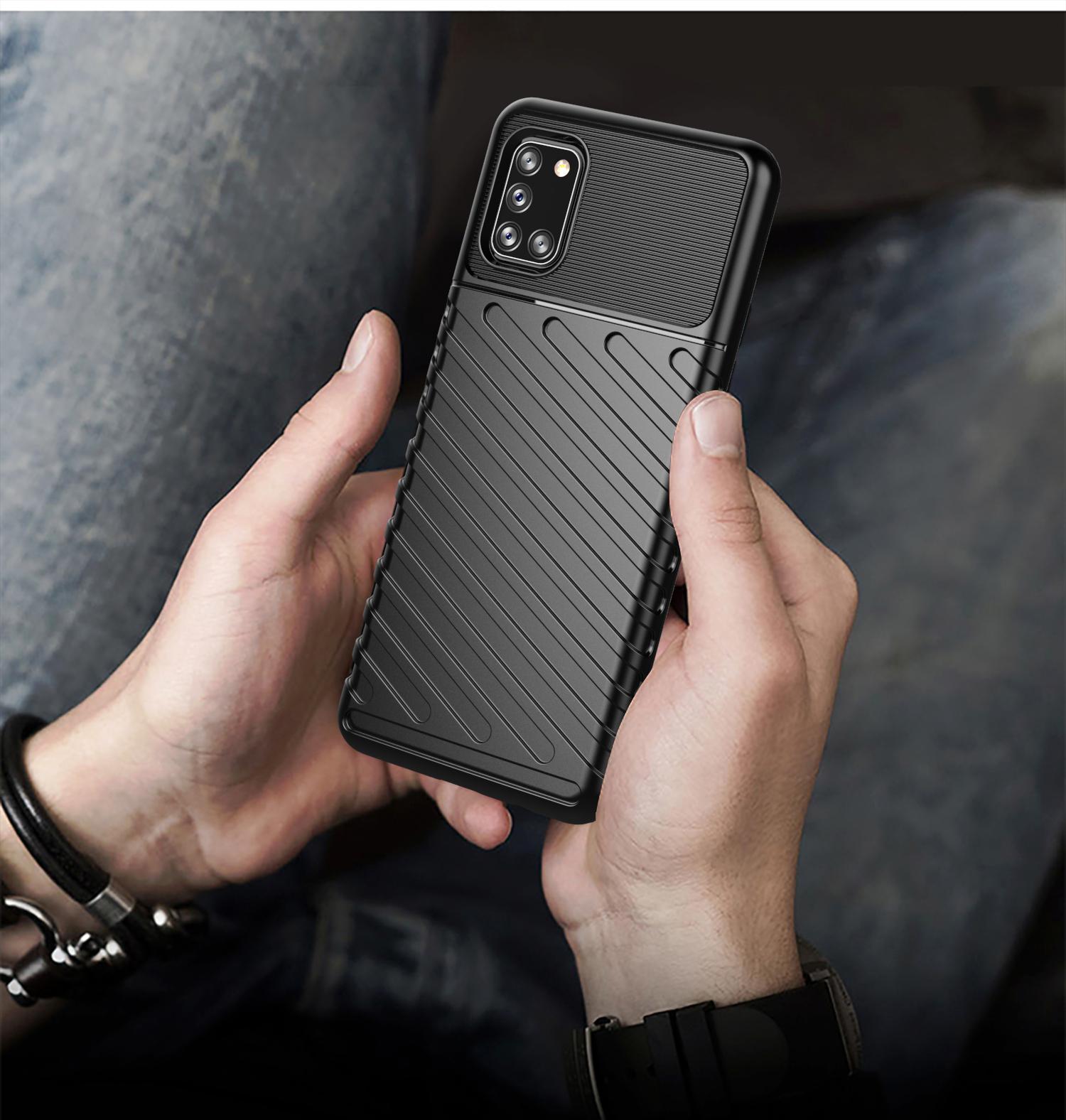 Ударопрочный чехол на Samsung Galaxy A31 черного цвета, серия Onyx от Caseport