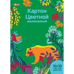 Картон цветной №1 School Живая природа (А4, 10 листов, 10 цветов, мелованный)