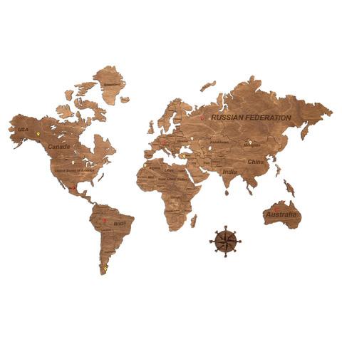Карта Мира из дерева Brown фото 1