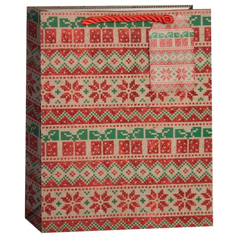 Пакет подарочный, Новогодний орнамент, Крафт, с блестками, 32*26*13 см
