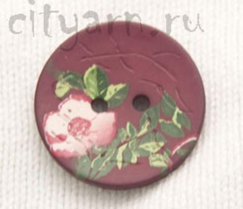 Пуговица с цветком шиповника, бордовая, 28 мм