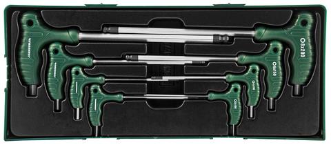 Набор угловых отверток (торцевых ключей) шестигранные, двусторонние с шаром 2-10 мм , 8 предметов (ложемент)