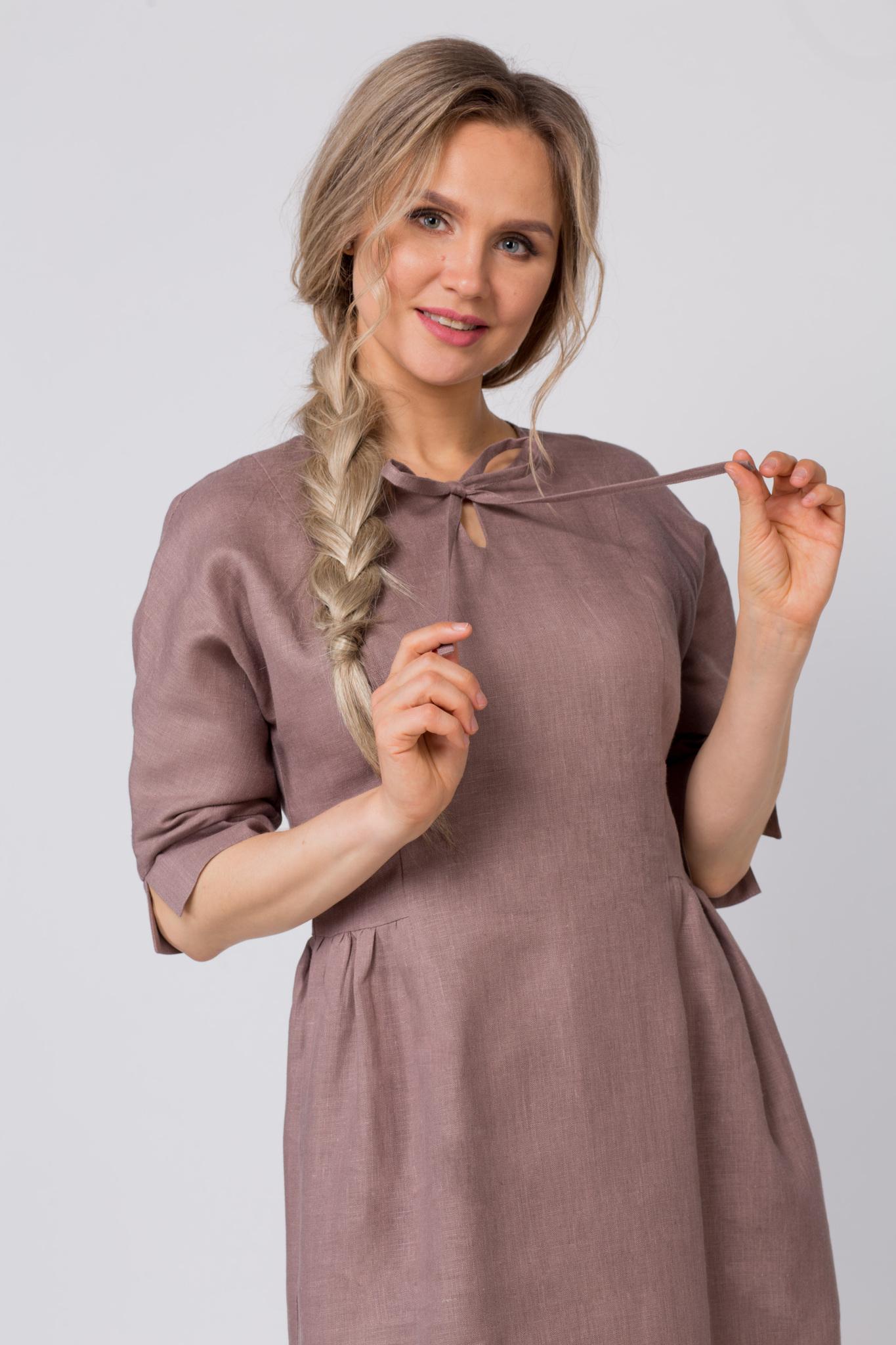 Платье льняное Какао приближенный фрагмент