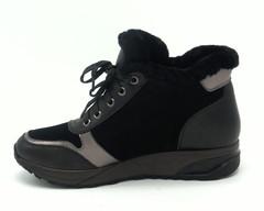 Черные кроссовки из комбинированной кожи