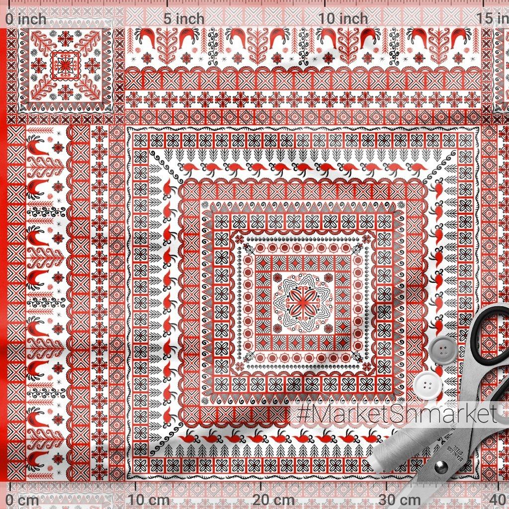 Квадратный орнамент с птицами. Мезенская роспись. (Дизайн для платков, шалей, наволочек, салфеток, полотенец). Irina Skaska