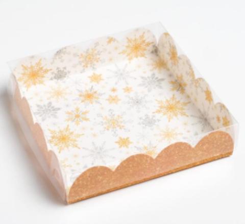 Коробка для печенья и пряников «Снежинки», 13*13*3 см