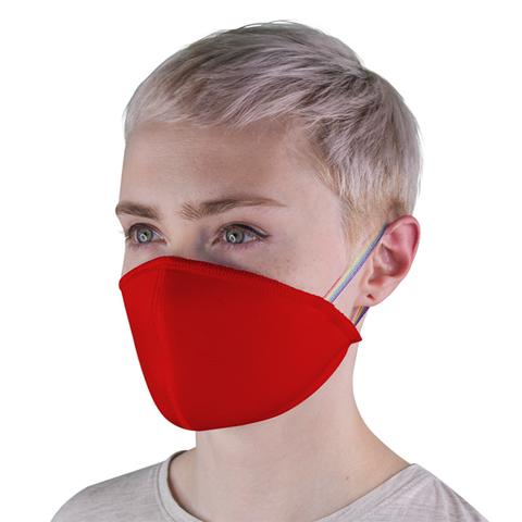 Маска защитная тканевая многоразовая, красная (с резинками)