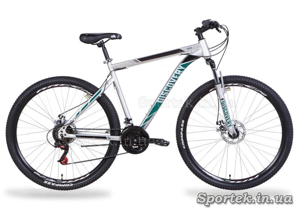 Горный универсальный велосипед Discovery Trek AM DD 2021 - серебристо-черный с бирюзовым