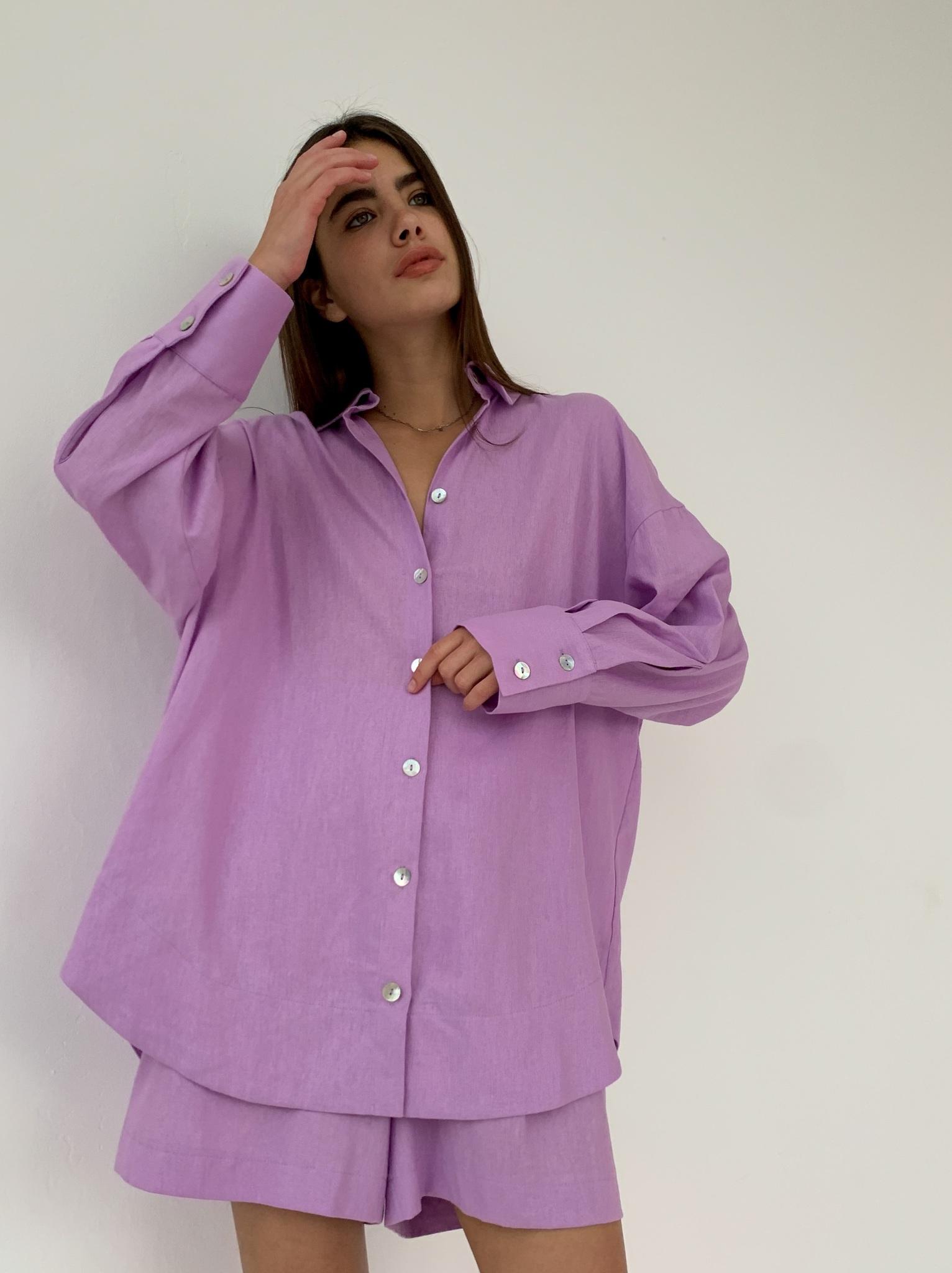 Рубашка объемная изо льна (сиреневый)