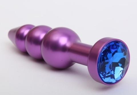 Пробка металл фигурная елочка фиолетовая с синим стразом 11,2х2,9см 47433-3MM