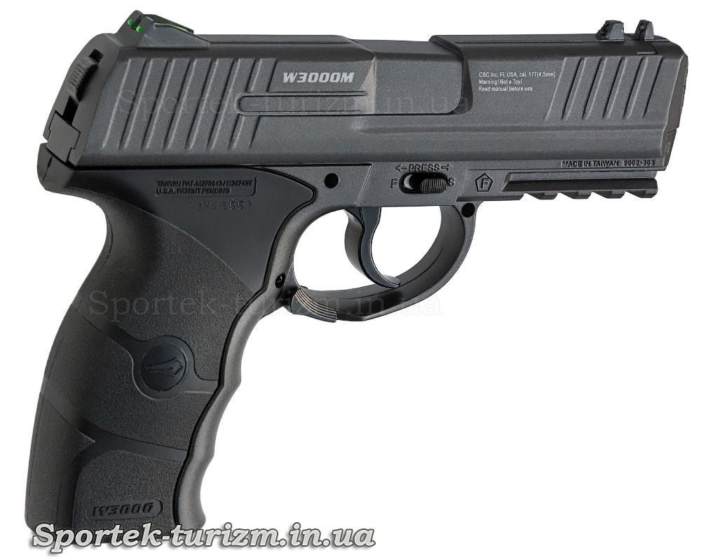 Вид праворуч на газобалонний пневматичний пістолет Borner W3000M калібру 4,5 мм