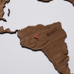 Карта Мира из дерева Brown фото 4