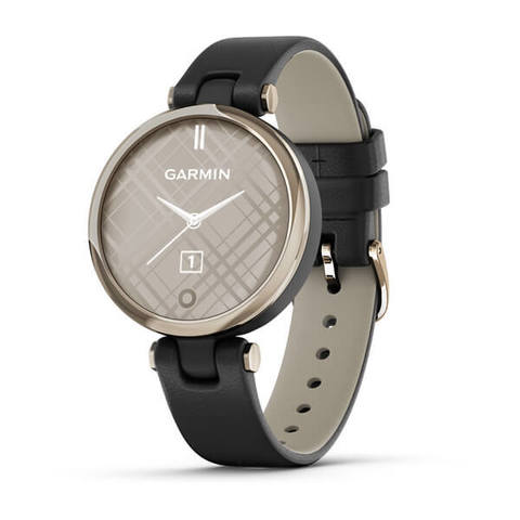 Garmin Lily Classic - Cream Gold, Black Case and Leather Band