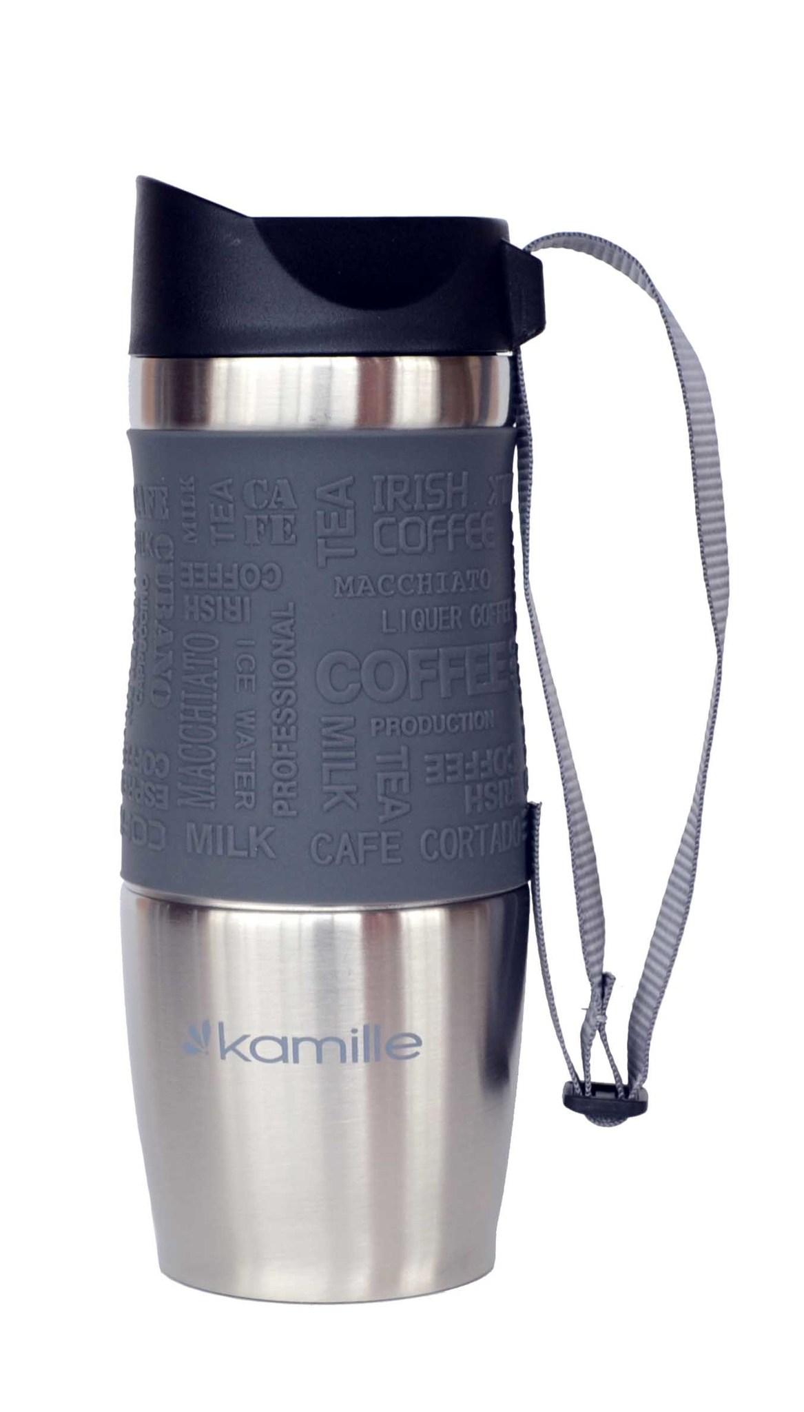 Термокружка Kamille c TPR и ремешком 380 мл. (хром) серая