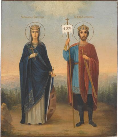 Икона святые Константин и Екатерина на дереве на левкасе
