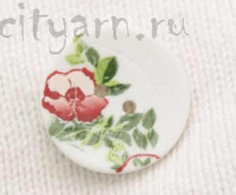 Пуговица с цветком шиповника, белая, 23 мм