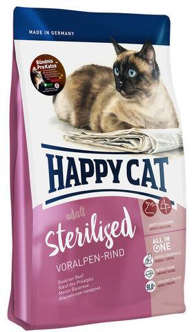 купить Happy Cat Sterilised Voralpen Rind сухой корм для кастрированных котов и стерилизованных кошек с альпийской говядиной