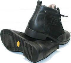Модные черные ботинки зимние мужские натуральная кожа Luciano Bellini 6057-58K Black Leathers & Nubuk.