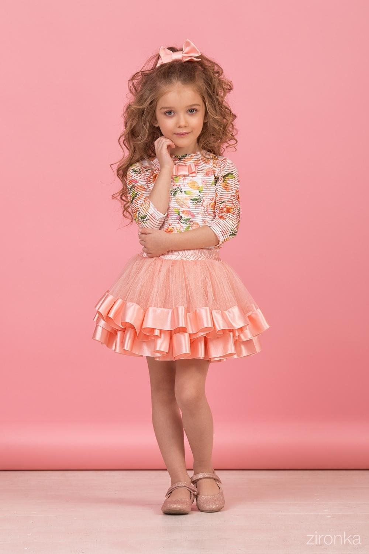 Комплект (блузка, майка, юбка) абрикосовый для девочки 64-8004-4