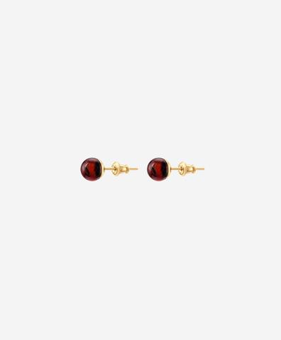 Серьги-пусеты с вишнёвым янтарём