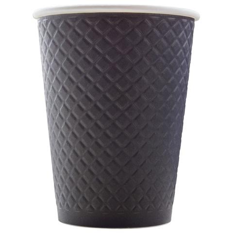 Formacia Waffle Black 300 мл (черные двухслойные рифленые бумажные стаканы, упаковка 25 шт.)