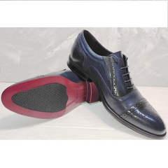 Оксфорды туфли мужские кожаные Ikoc 3805-4 Ash Blue Leather.