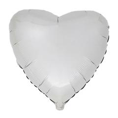 Воздушный шар Сердце 44см (Белое) Пастель