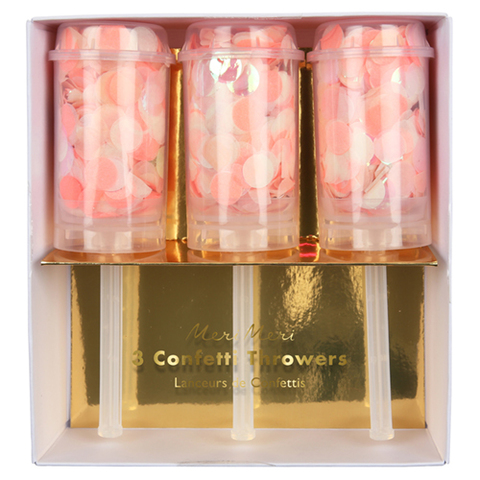 Хлопушки с конфетти, розовый, 3 шт.