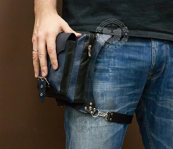 BAG369-5 Мужская набедренная сумка из кожи черного и синего цветов фото 11