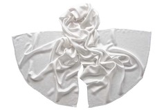 Палантин белый из шелка 4726