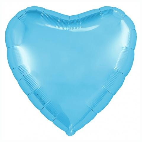 Шар сердце ярко-голубой, 45 см