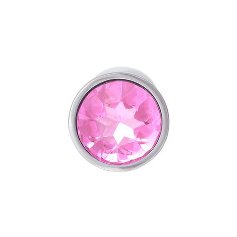 Анальная пробка с кристаллом (нежно-розовый), размер S