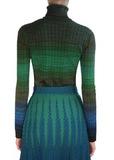 Водолазка из шерсти и вискозы. Цвет синий/зеленый/оранжевый M MISSONI