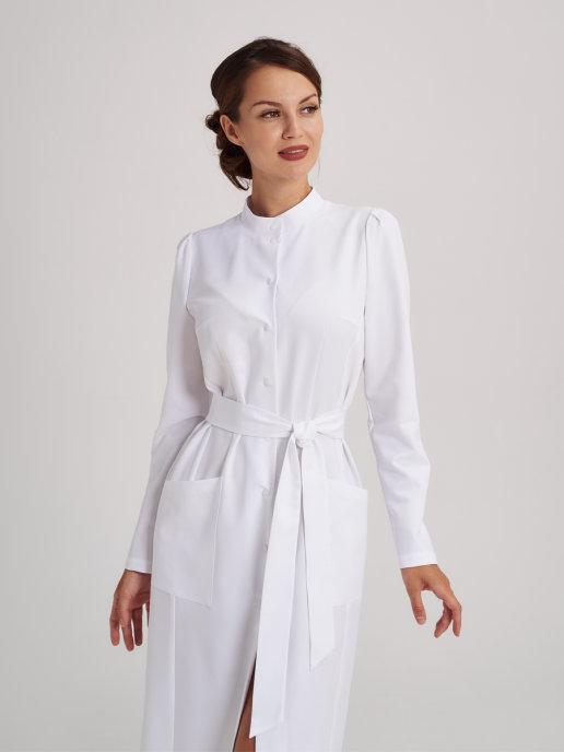 Элегантный медицинский халат с длинным рукавом