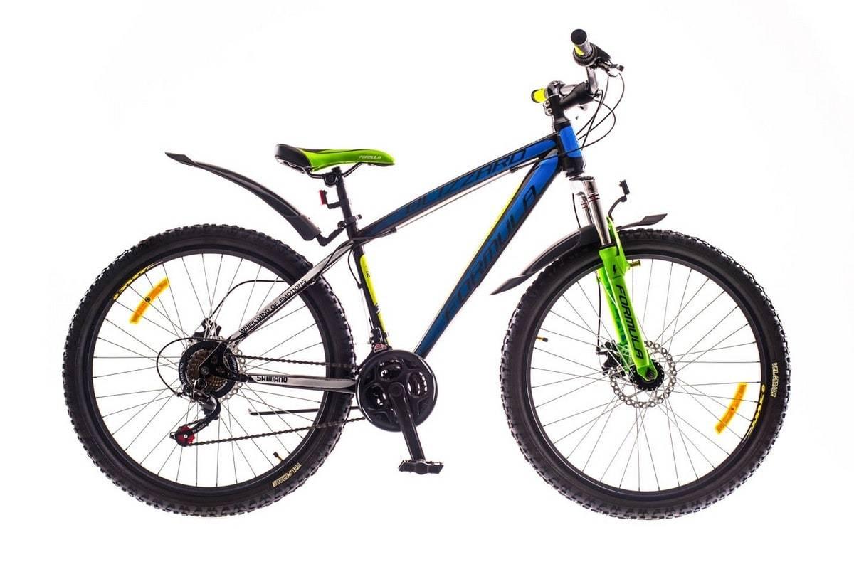Горный мужской велосипед Formula Blizzard DD (Формула Близард) черно-сине-зеленый