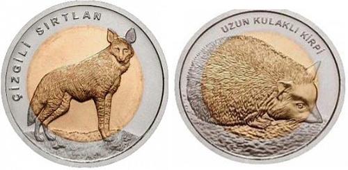 """Комплект из двух монет 1 лира """"Красная книга"""" ушастый ёж и гиена 2014 год"""